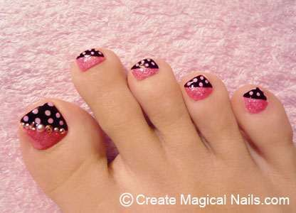 toe nail designs: Toenails Design, Polka Dots Toe, Toe Nails Art, French Nails Design, Toe Nails Design, Nails Polish Design, Nail Design, Pink Black, Nails Designs