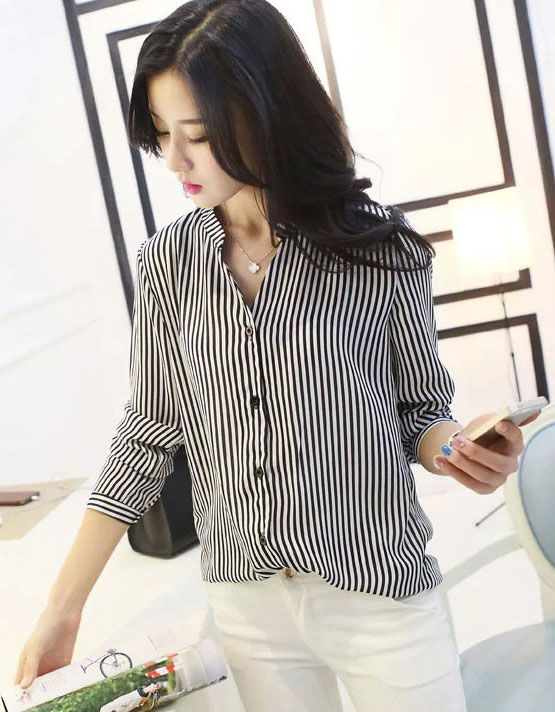 Womens-Simple-Black-Striped-Chiffon-Shirt---188403806-3-188403806.jpg (555×712)