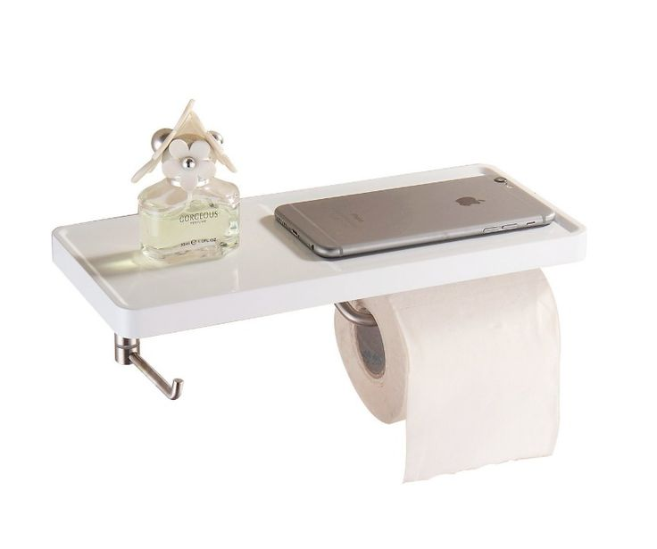 Toilet Roll Holder With Shelf,Hook Roll Paper Wall Mounted Multi-Function Steel