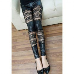 $5.69 Alluring Rose Pattern Lace Splicing PU Leather Leggings For Women