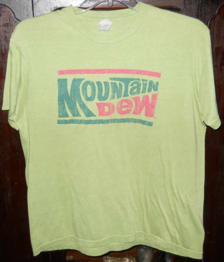 Mountain Dew T-Shirt~Bright Green~Sz L Large~Pepsi Products~Shortsleeve #ActiveApparel #ShortSleeve