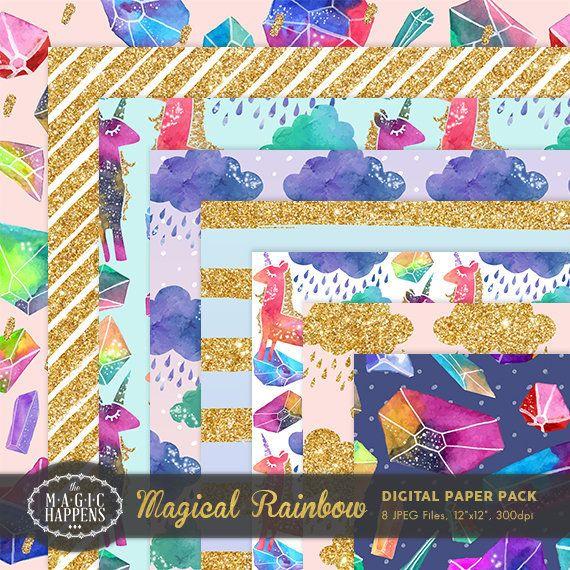 Magical Rainbow Digital Paper Glitter Unicorn by TheMagicHappens