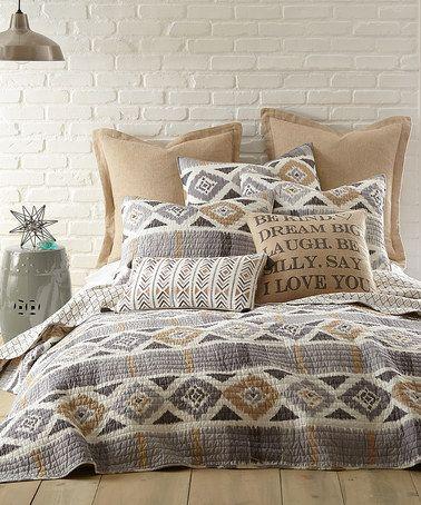 Look at this #zulilyfind! Gold & Gray Santa Fe Quilt #zulilyfinds
