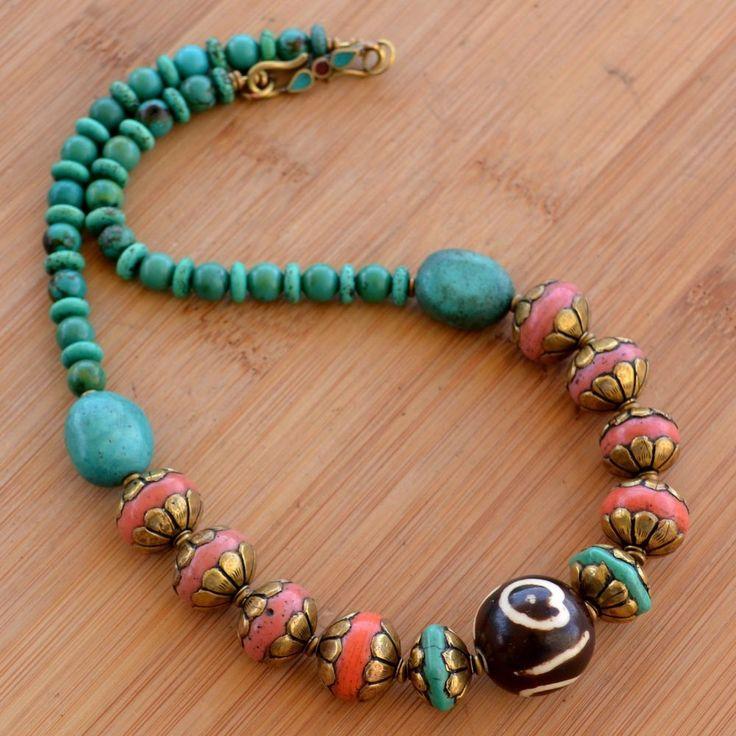 RJ07 Nepalese Handmade Brass Turquoise Coral Dzi Resin Necklace by Eksha #Eksha #Necklace