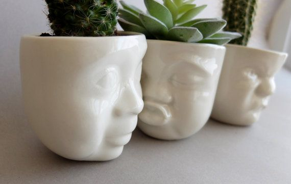 White Ceramic Succulent Planter , Small Plant Pot , Face Planters , Air Plant Vase , Gift For Her , Ceramics Pottery Gift SCULPTUREinDESIGN