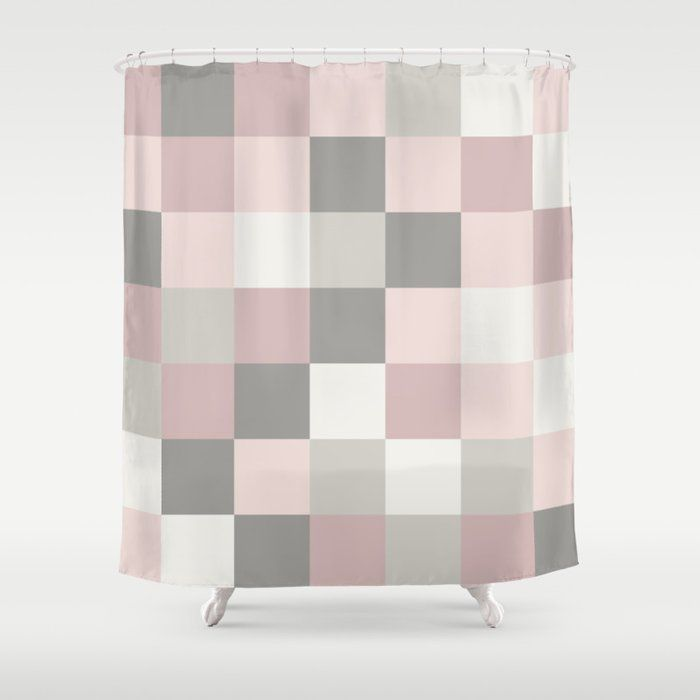 Buy Dusty Rose Rose And Grey Squares Shower Curtain By Blerta