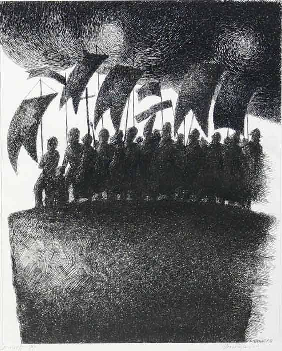 """Edward Kreft, """"Procesja do nikąd"""", papier, pióro, tusz, 35x43cm"""