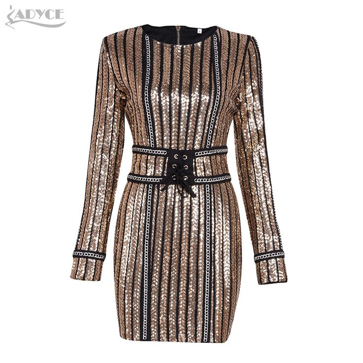ADYCE 2017 Summer dress luxury Celebrity Runway Dress black O-Neck long sleeve Sequins striped mesh Women Bodycon Dress Clubwear