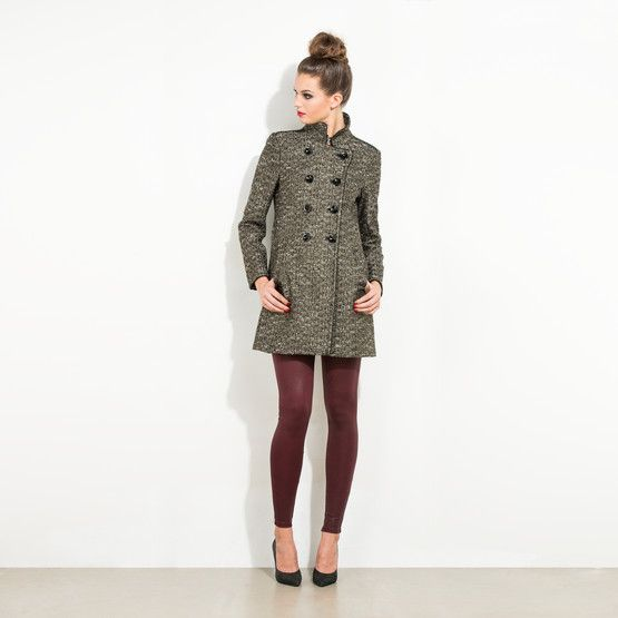 Double breasted military style tweed coat that falls at the knee.