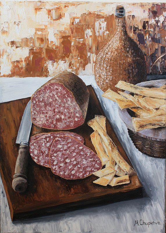 "Still-life-Salami-on-cutting-board-knife-oil-painting Натюрморт. Салями на доске. Картина маслом. ""Gastronomical noon II"" (50*70 oil/canvas, 2012) ""Гастрономический полдень II"" 50*70, холст/масло, 2012г  by Chuprova Margarita"