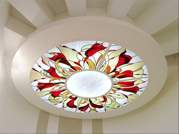 Stained glass in ceiling