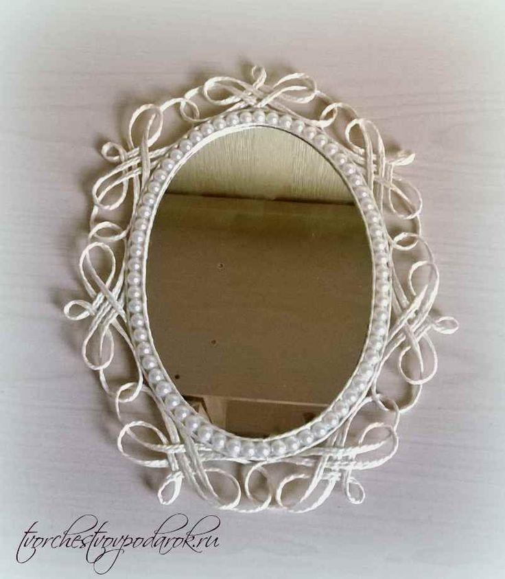 Рамка для зеркала своими руками.Мастер-класс с пошаговым фото.Красивое овальное зеркало.Красивое настольное зеркало для макияжа.