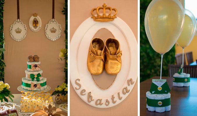 Hoje, trago para vocês uma linda decoração de chá de bebê com o tema Príncipe.   O objetivo da mamãe Marcia Caye era fugir do tradicional azul e, para isso, ela apostou no verde e dourado (acertou em cheio!). Na decoração foram usados alguns objetos do quarto do pequeno Sebastian, c