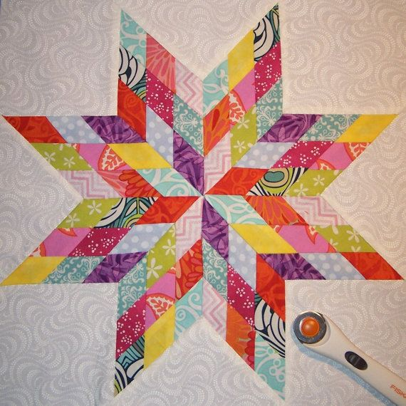 Quilting Pattern For Lone Star : Scrappy Lone Star Quilt Sampler Block of Month Pattern