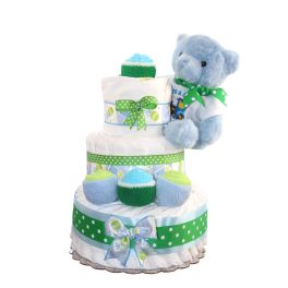 Blue Teddy Bear Diaper Cake For Boy 3 Tier / Unique Gift For Baby Shower