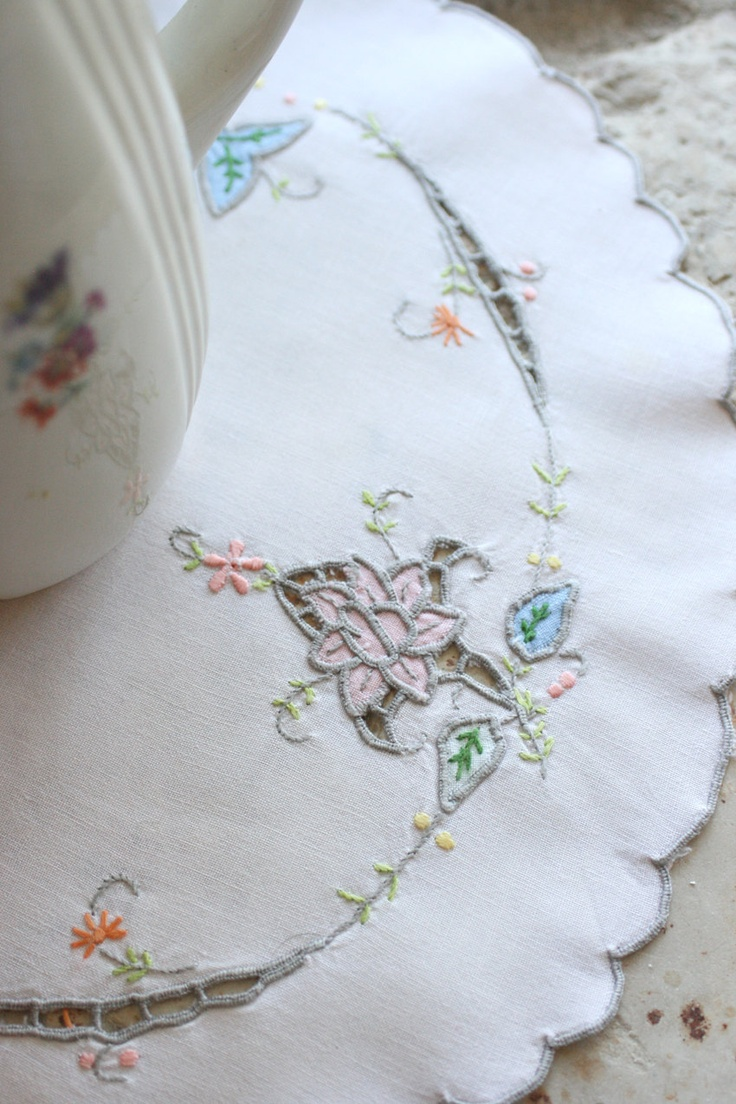 French Vintage Embroidered & Appliquéd Table Mat. €7.00, via Etsy.