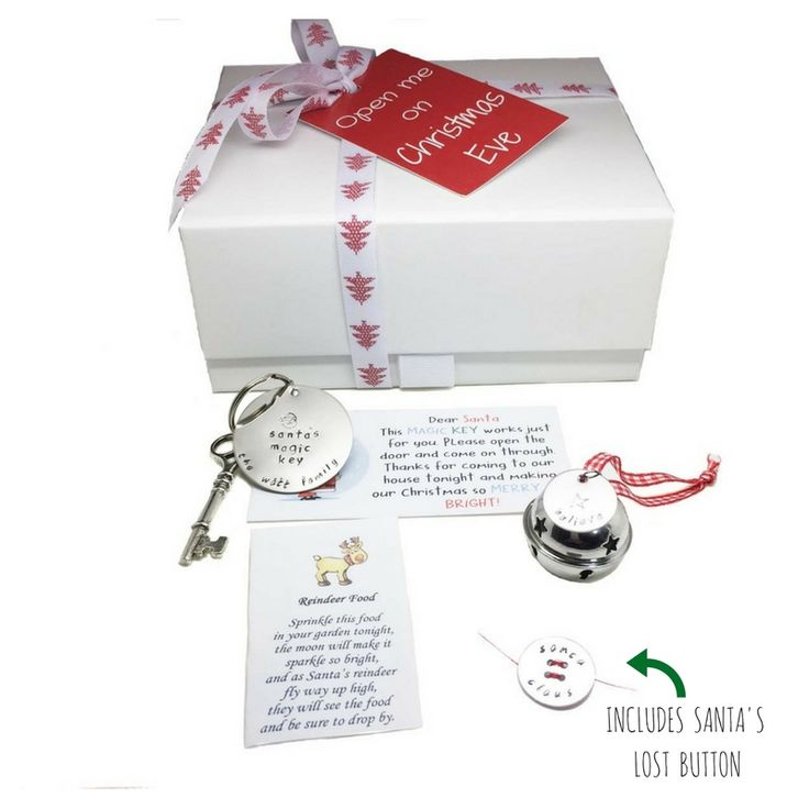 Magical Christmas Eve box - Santa key, believe sleigh bell & reindeer food - along with Santa's lost button.