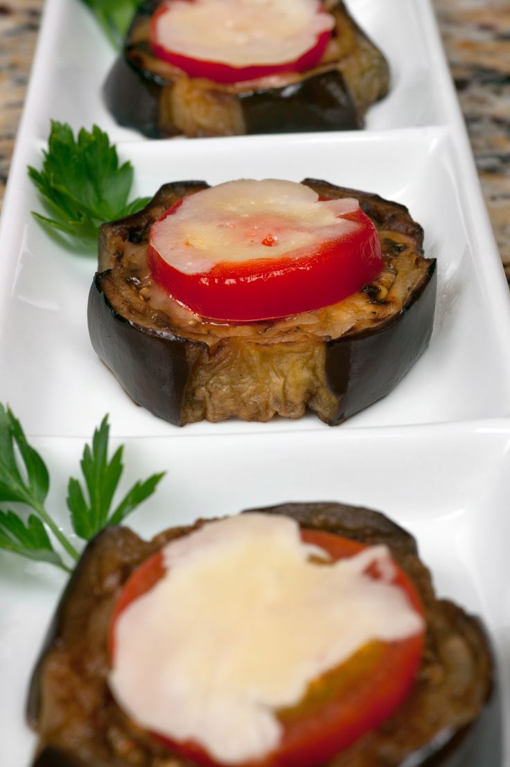 Roasted Eggplant with Roma Tomata and Melted Mozzarella topping. / Appetizer & Finger Food Recipes