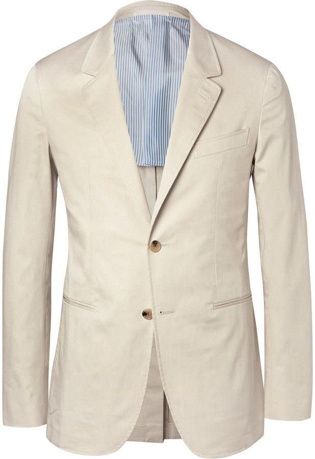 Caruso Cream Butterfly Slim-Fit Unstructured Stretch-Cotton Blazer