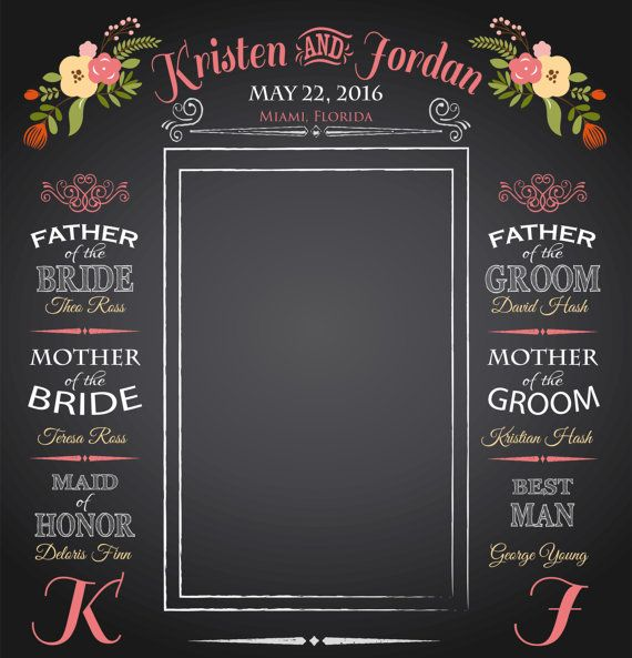 Wedding Day Photo Chalkboard Backdrop! Perfect for wedding day memories and photo opportunities! Fully customizable with phrases or names!  https://www.mpressionsprinting.myshopify.com