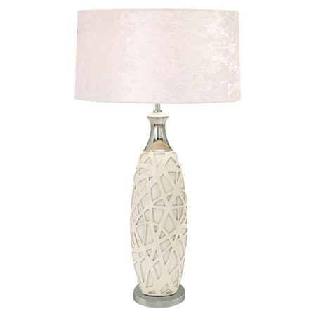 Table lamp with a pearl inspired fabric drum shade product set of 2