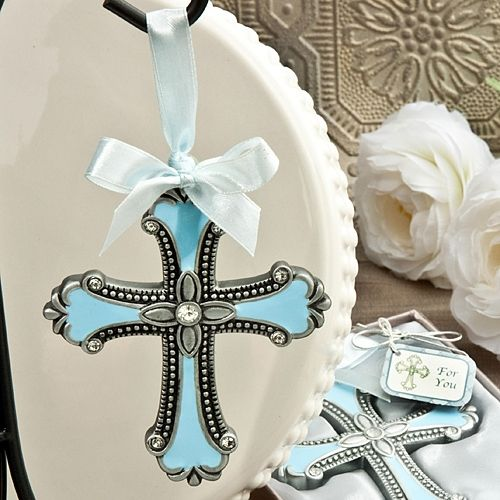 Ornament Christening Favors: Beautiful Cross Ornament Favor In Blue