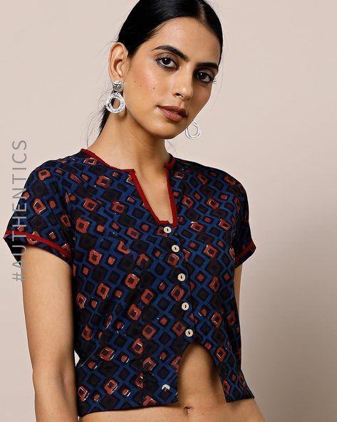3121ff872faf4b Indie Picks Indigo Blue Front Open Indigo Print Cotton Crop Blouse   sari  blouse   Blouses for women, Blouse, Blouse online