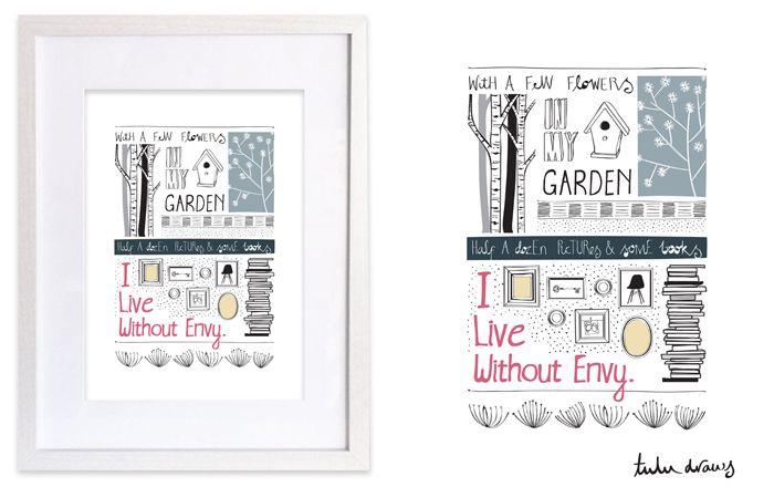 Framed A4 illustrations for sale.  http://www.facebook.com/tuludraws