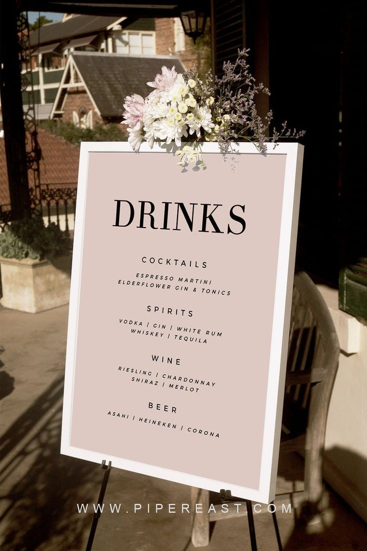 Wedding Drinks Sign Large Modern Wedding Template Drinks Signs Blush Wedding Sign Instant Download C016p In 2020 Wedding Program Sign Wedding Drink Sign Wedding Drink