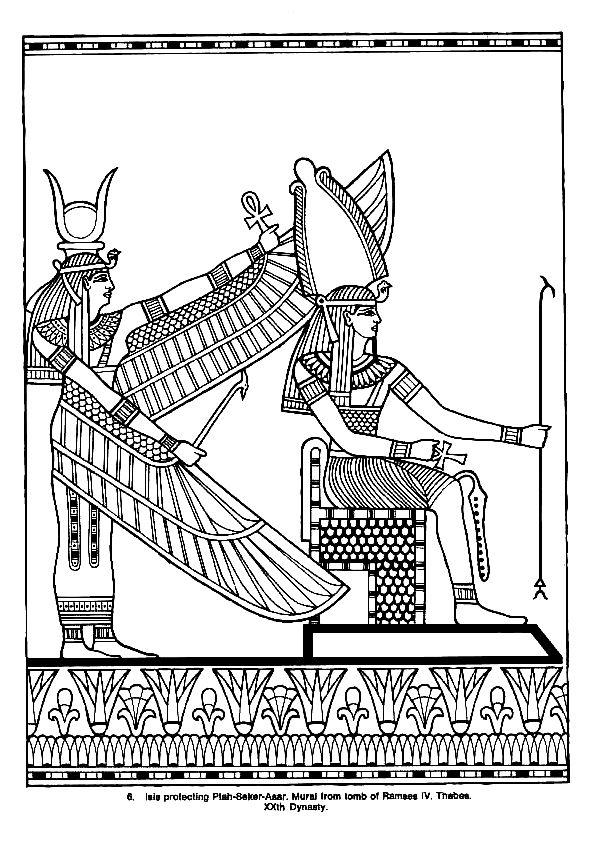Un dessin à colorier qui représente le pharaon Ramsès.