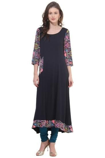 LadyIndia.com #Kurtis, Classy Designer Black Kurti For Women, Kurtis, Kurtas, Cotton Kurti, https://ladyindia.com/collections/ethnic-wear/products/classy-designer-black-kurti-for-women