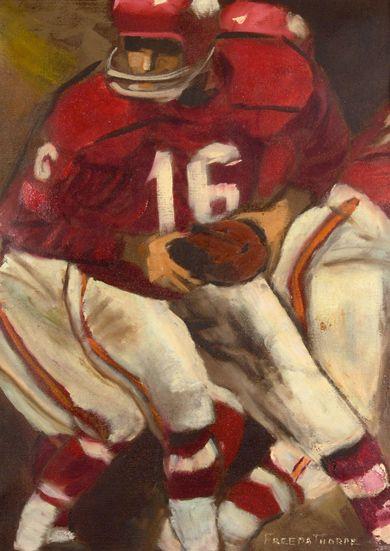 Len Dawson original painting by Freeda Thorpe, Jim Thorpe's former wife c.1960s