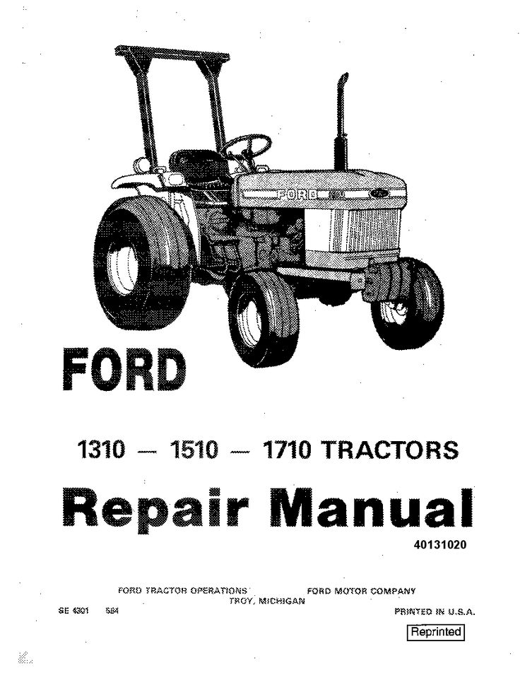 New Holland Ford 1310, 1510, 1710 Tractor Workshop Repair