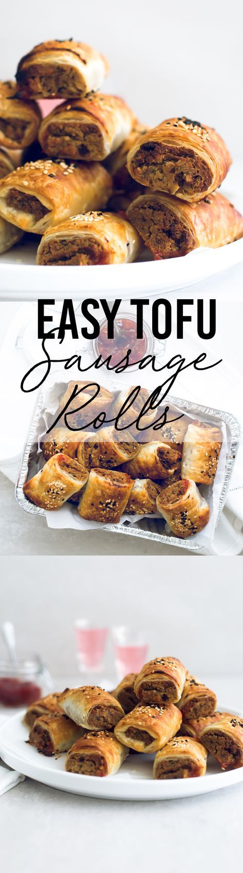 Delicious Vegan Tofu Sausage Rolls - Tofu and Nut Sausage Mince encased in golden and flaky Puff Pastry, served with Tomato Sauce. Perfect for parties and picnics. #vegan #tofu #sausagerolls #vegansausagerolls #simple #delicious #puffpastry #nuts