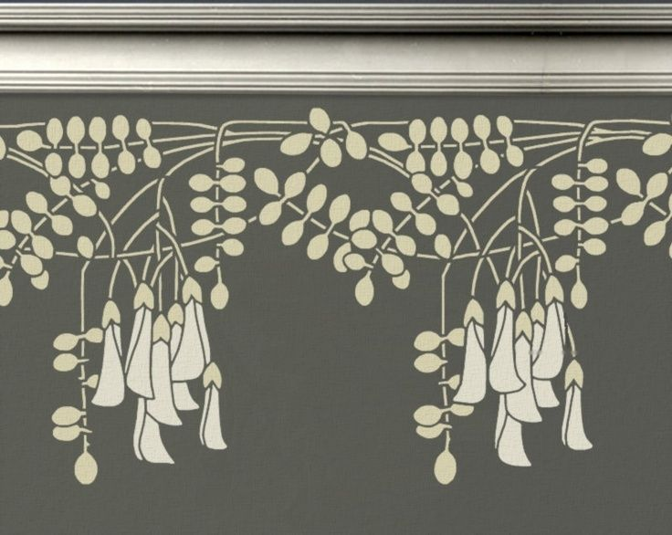 Stencil For Walls Border Black Locust Flowers Reusable