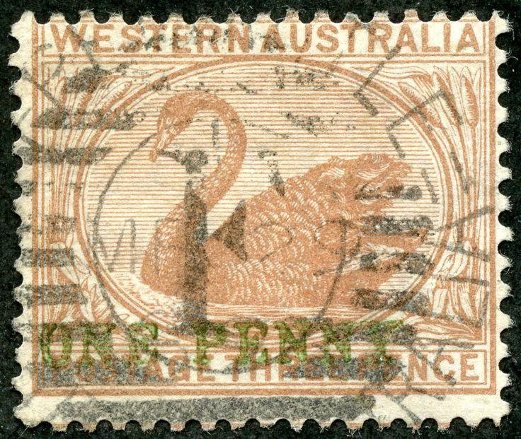 Western Australia  1893 Scott 69 1d on 3d red brown Wmk 1, Surcharged in Green