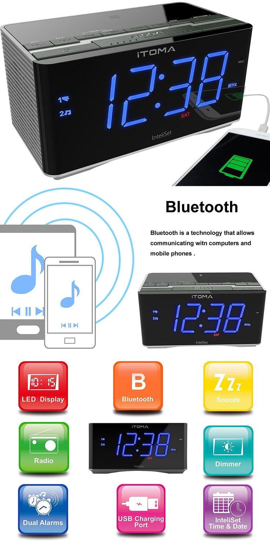 Digital Clocks and Clock Radios: New Itoma Radio Alarm Clock, Bedside Fm Radio, Bluetooth, Dual Alarm, Cks3501bt BUY IT NOW ONLY: $33.49