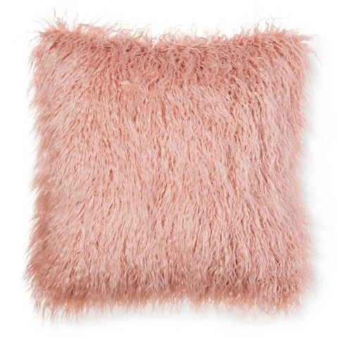 "Threshold™ Pink Faux Mongolia Fur Pillow 18"", $29, Target. Luster Velvet Pillow Cover - Peacock, $34, West Elm. Joanna says that the decor items in a room can get lost if the walls are colored. Colored objects get lost."