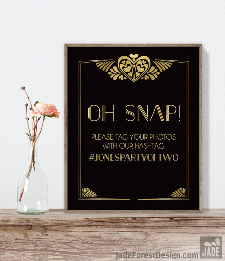 Wonderful Great Gatsby Hashtag Sign / Instagram Sign / Art Deco, Roaring Twenties,  1920s / Black And Gold ▷ Printable File {or} Printed U0026 Shipped