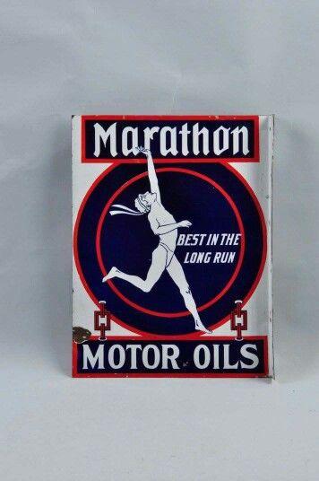 Porcelain Marathon Motor Oils Flange Sign