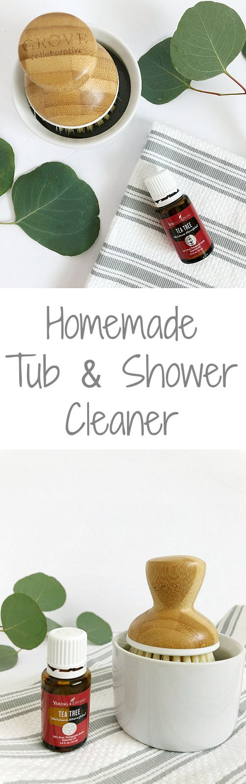 Great idea to incorporate Tea Tree Essential Oil into this DIY Shower Cleaner! #teatree #essentialoils #showercleaner