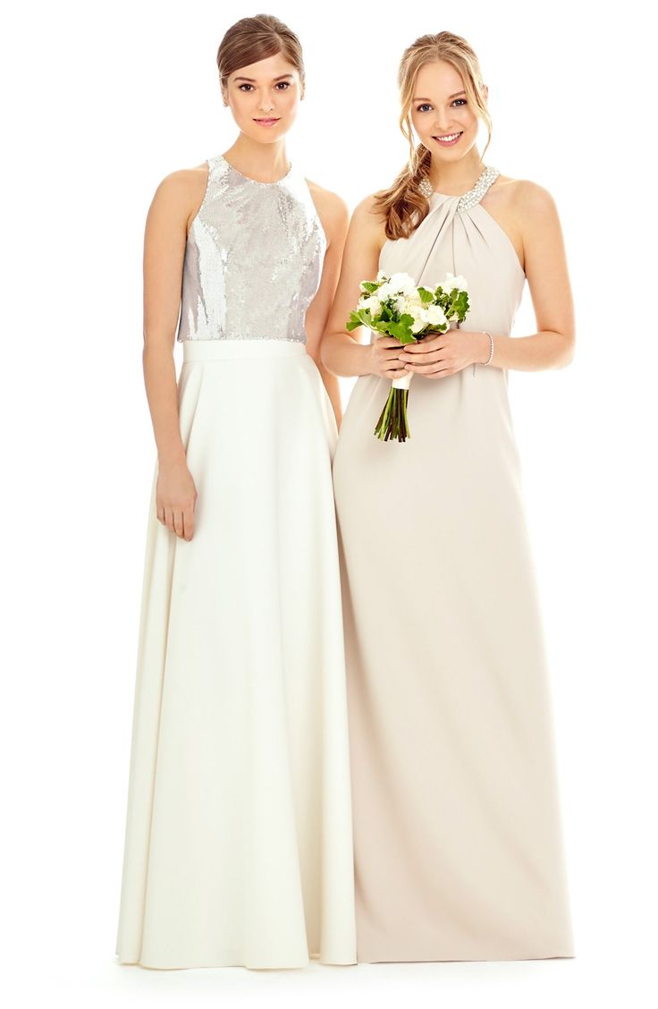 205 best neutral bridesmaid dresses images on pinterest sequin halter top long crepe skirt neutral bridesmaid dressesbridesmaidscrepe skirtshalter ombrellifo Images