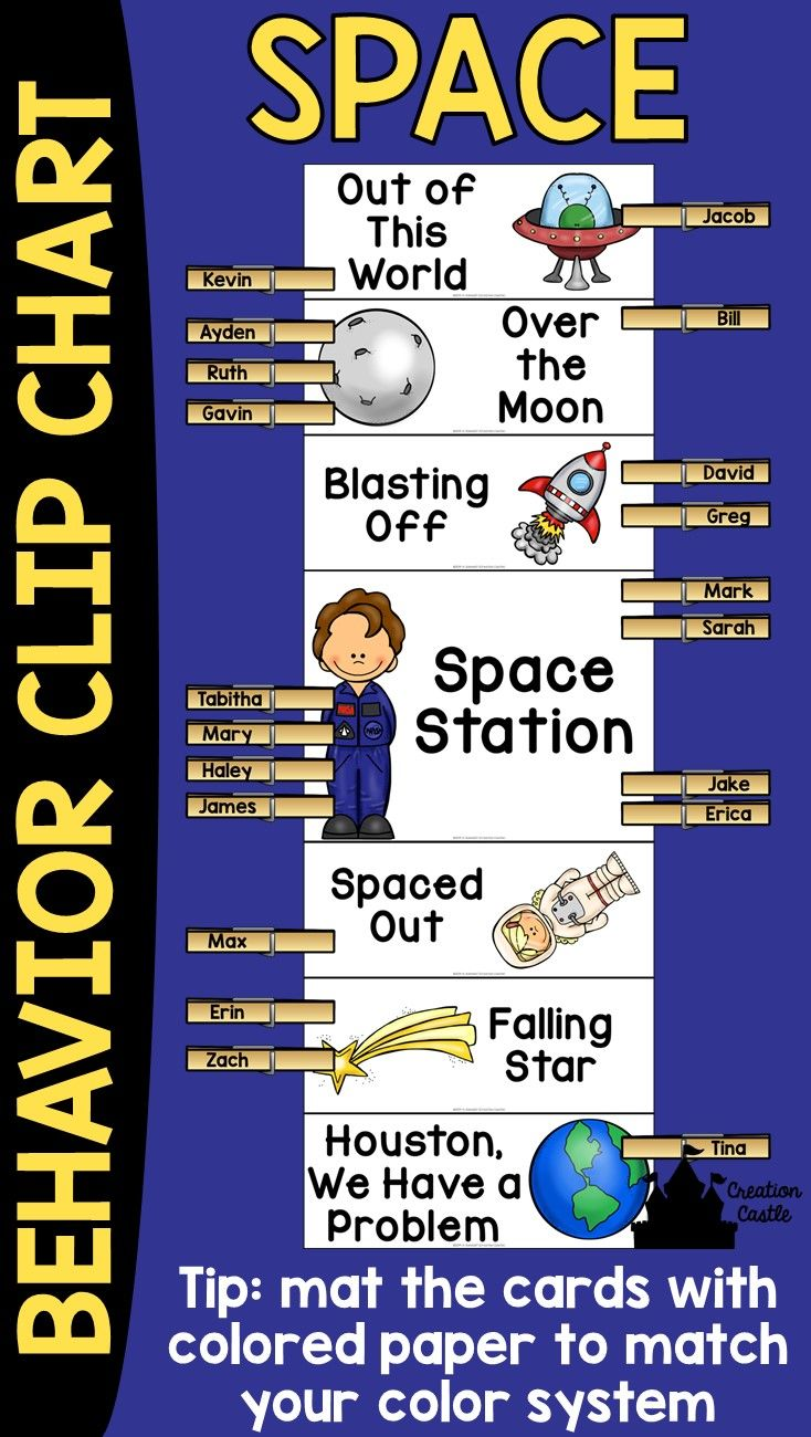 "This space theme behavior clip chart will look wonderful in your classroom! Encourage your students to have ""Out of This World"" behavior and climb to the top of the chart! Behavior clip charts are a great tool in the classroom, allowing students and teachers to keep track of students misbehavior or outstanding behavior."