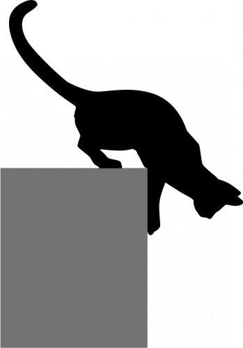 Vector de la imagen de silueta de gato bajando | Vectores de dominio público