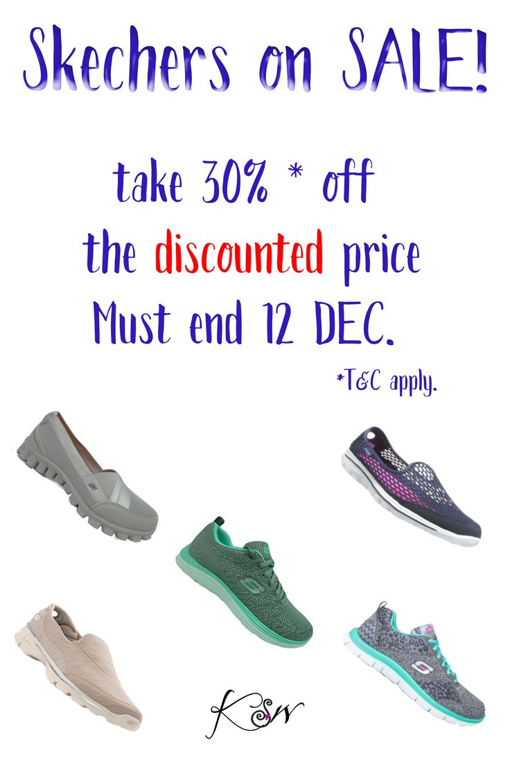 DON'T MISS OUT Amazing deals on Skechers for Men and Women.  Take an additional 30% OFF* our ALREADY discounted prices! If you haven't tried them... you don't know what comfort is. Additional cushioning in footbeds and on the sole of the shoe, make you feel like you are walking on air. Also the perfect travelling so as they are just SO lightweight. Ends 12 DEC