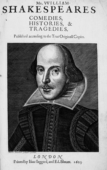 William Shakespeare, Comedies, Histories & Tragedies, London 1623. First Folio, title page.