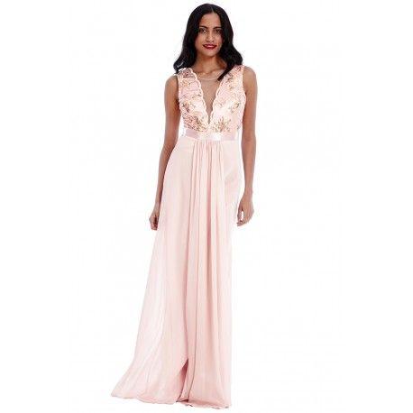 Pudrowa szyfonowa sukienka maksi z głębokim dekoltem z cekinami i siateczką