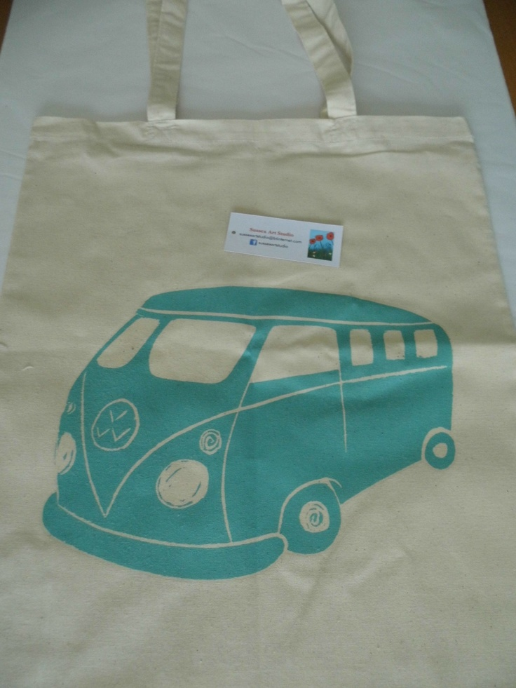 Turquoise Campervan cotton tote bag, based on my linoprint design and professionally heatpressed £15 + p