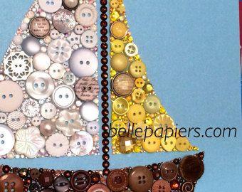 Botones arte velero y Swarovski Rhinestones vela barco Nautica arte bebé niño vivero decoración