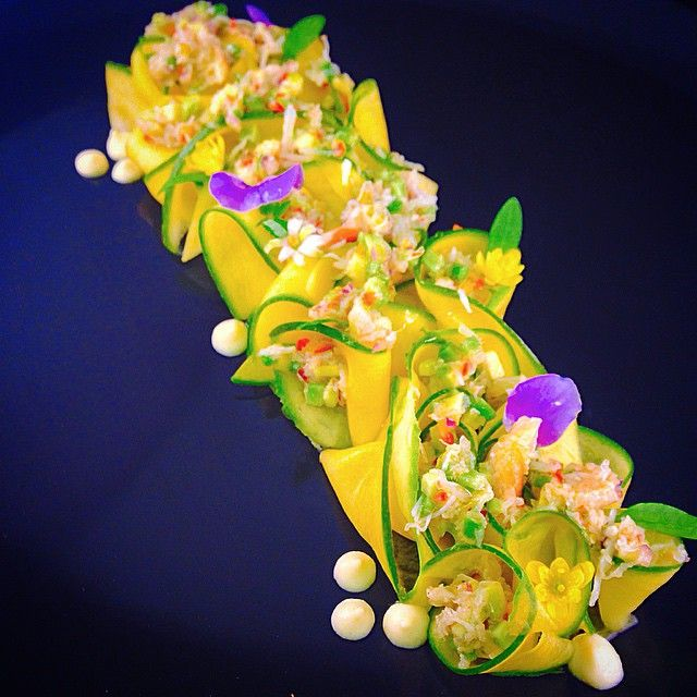 Crab & green mango salad with pickled ginger cream and coriander and to finish a warm scotch bonnet oil  / by Barbadian Chef Jason Howard